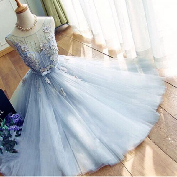 Light Blue A Line Sheer See Through O neck Sleeveless Tulle Prom Dress Real Photo Pearls Short Prom Dresses